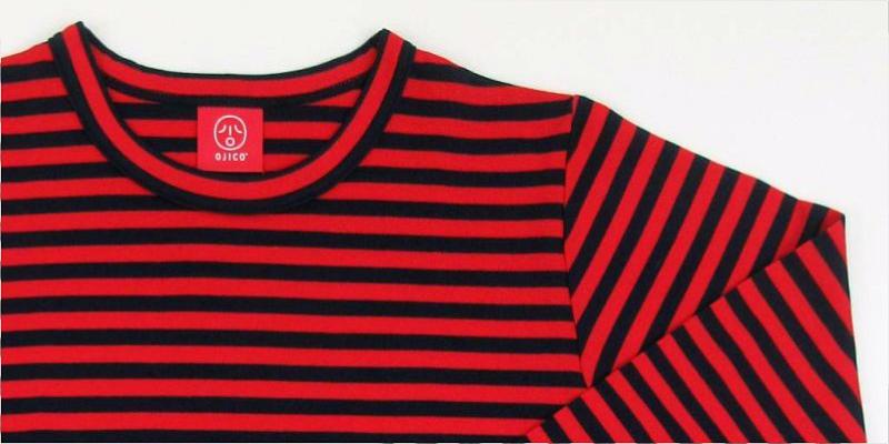 「ボーダー長袖Tシャツ」は生地の縮み幅が大きい分、少し大きめに作られています!